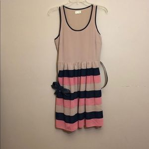 Pale pink dress with striped skirt